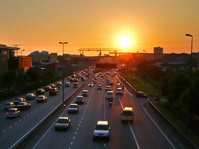 Sunset over expressway