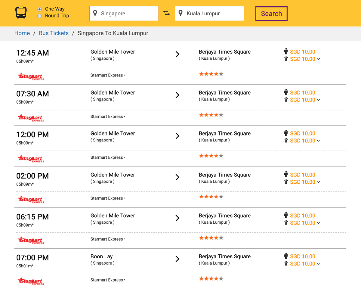 Cheap bus ticket from Singapore to Kuala Lumpur