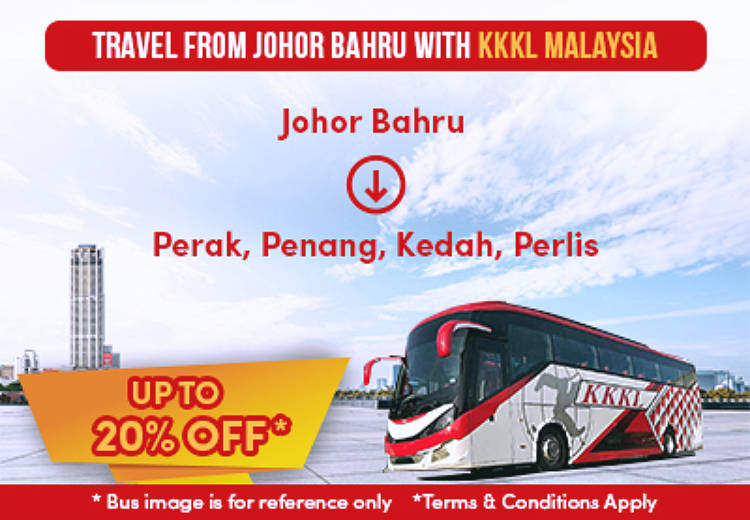 Get 20% off when travelling from Johor Bahru with KKKL