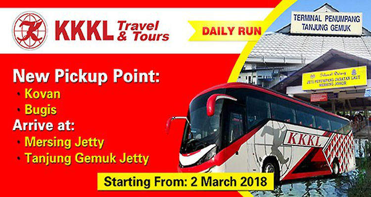 KKKL Express Bus from Kovan Hub/Bugis MRT to Mersing/Tanjung Gemok Jetty