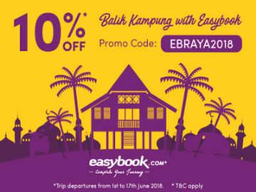 Easybook 10% Off Balik Kampung Trips to Celebrate Hari Raya Aidilfitri 2018