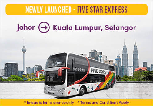 Five Star Express Bus from Johor to KL and Selangor