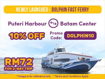 Easybook Promo Code: 10% off Dolphin Fast Ferry from Batam to Johor Bahru