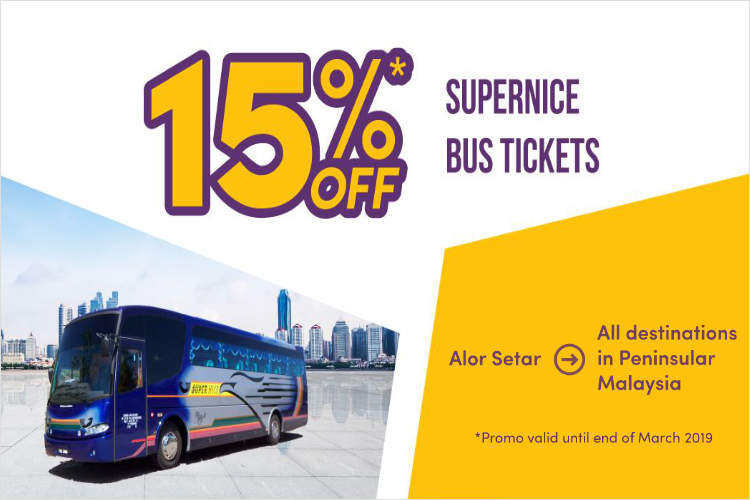 15% off Bus Tickets from Alor Setar by Supernice