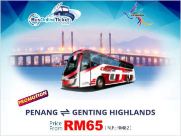 Promo: Penang to Genting Highlands 2-Way Bus Ticket by GJG Express