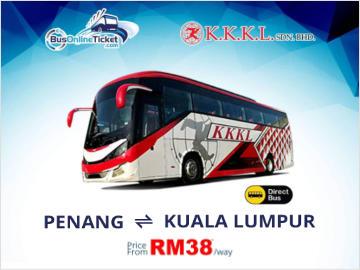 Bus from Penang to Kuala Lumpur by KKK Express