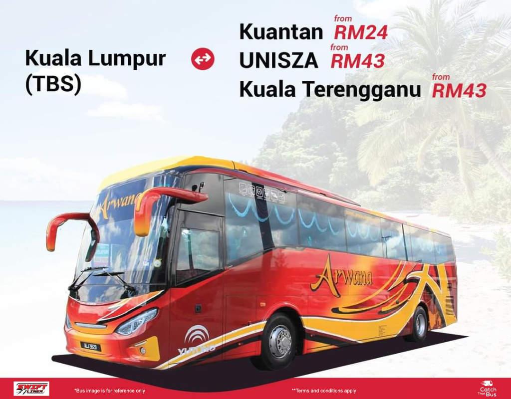 Bus from Kuala Lumpur to Kuantan, UniSZA & Kuala Terengganu by Swiftliner Express