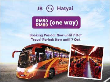 Promo: Johor Bahru to Hatyai Bus Ticket only RM50