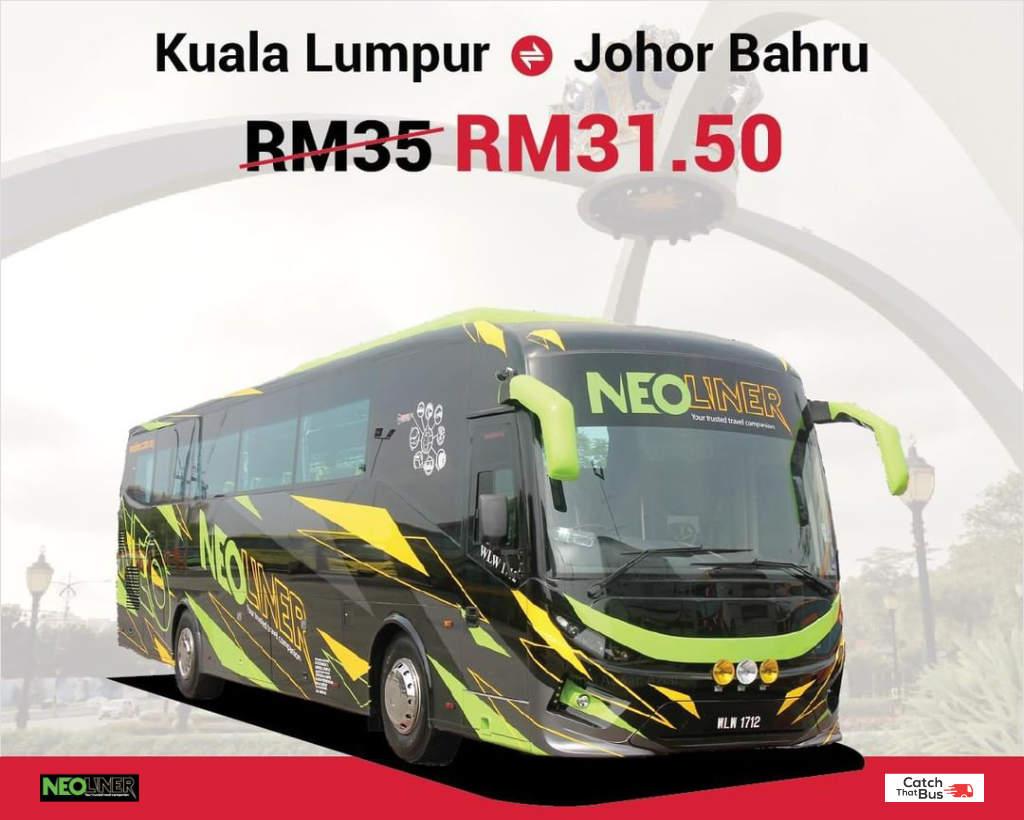 Promo: 10% off Johor Bahru to/from Kuala Lumpur Bus Ticket - Neoliner Express