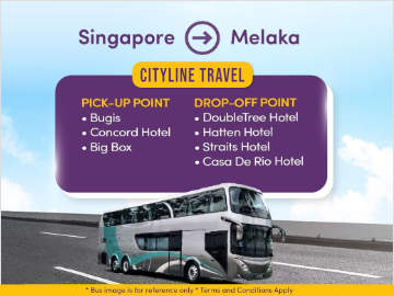 Bus to Malacca from Bugis MRT, Orchard Road & Big Box