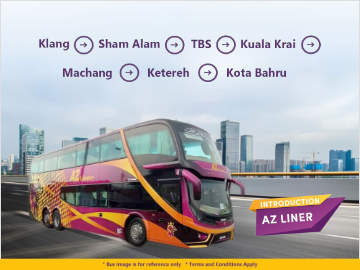 Klang to Kota Bahru Bus by AZ Liner