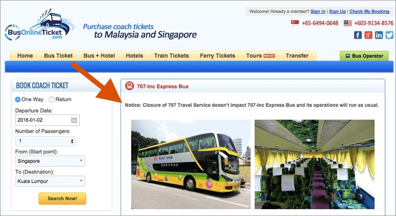 Screenshot of BusOnlineTicket.com statement