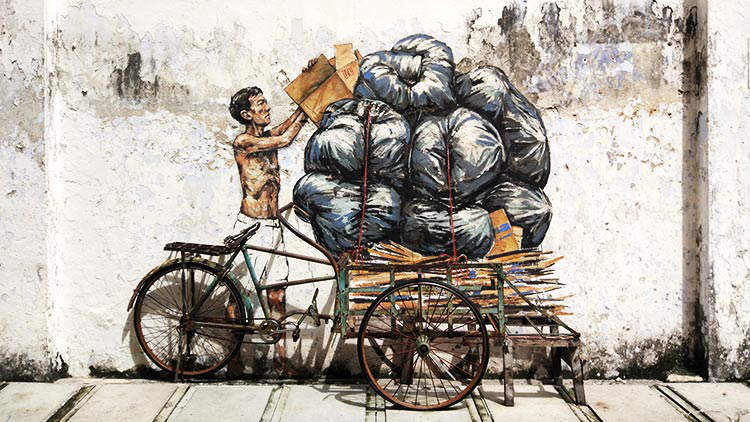 Ipoh Street Mural - Trishaw by Ernest Zacharevic
