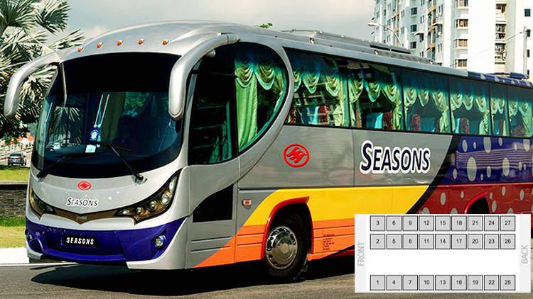 Seasons Express bus 27 seats layout