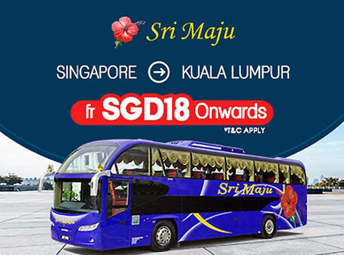 $18 Bus Ticket from Singapore to Kuala Lumpur by Sri Maju